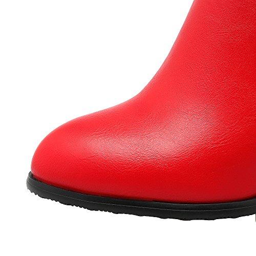 ENMAYER Mujeres Colgante de Cremallera Lateral de Lujo de Tacón Alto Botas Rojo