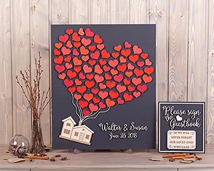 Amazon.com: Libro de invitados de boda personalizado ...