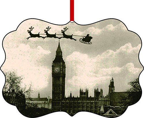 Vintage Santa and Sleigh Over Big Ben-England-TM Double-Sided Benelux Aluminum Holiday Hanging Tree Ornament Made in the (Vintage Aluminum Christmas Trees)