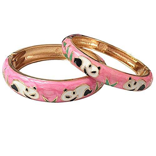 (UJOY Bracelet Bangles Gold Plated Filigree Gorgeous Enameled Handcraft Cloisonne Jewelry Gifts Box Packed 55C43 Panda Pink)