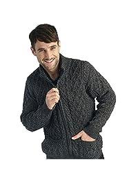 100% Soft Irish Merino Wool Full Zip Aran Sweater by West End Knitwear