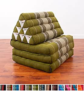 Colchoneta Thai con almohada triangular, 170x53x30 cm, Capok, Verde