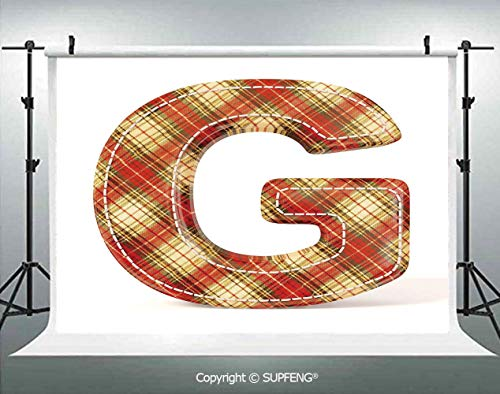 - Photography Background Uppercase G Character Old Fashioned Checkered Plaid Classical Pattern Decorative 3D Backdrops for Photography Backdrop Photo Background Studio Prop