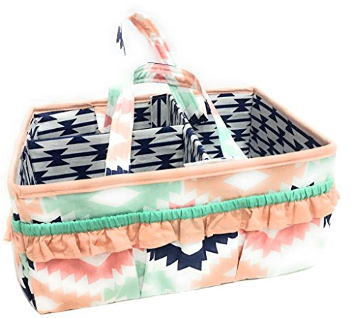 - Bacati Aztec Emma Girls Nursery Fabric Storage Caddy with Handles, Coral/Mint/Navy