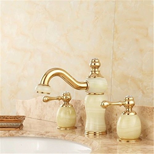 Gyps Faucet Basin Mixer Tap Waterfall Faucet Bathroom Mixer Bar Mixer Shower Tap The jewel of the whole copper three holes and cold water taps split Marble Bathroom Cabinet basin rose gold faucet B ()