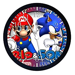 Extra Large Size 14 Super Mario Sonic Wall Clock Home Office Decor or Nice For Gift W53