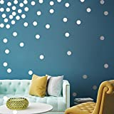 Echolife Gold Polka Dot Wall Decals - Removable Gold Metallic Vinyl Wall Decal Round Circle Dots for Kids Grils Boys Nursery Room Bedroom Living Room (Silver)