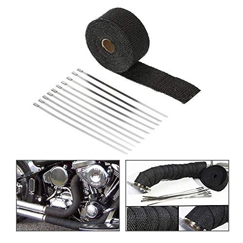 (Black Fiberglass Exhaust Header Wrap Pipe Wrap Tape Turbo Heat Insulation Cloth for Downpipe Car Motorcycle (Black, 15 m 5 cm))