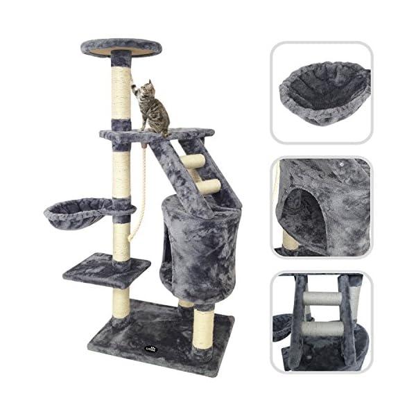 Todeco-rbol-para-Gatos-Escalador-para-Gatos-Material-MDF-Tamao-de-la-casa-de-gato-300-x-300-x-429-cm-120-cm-5-plataformas-color-Gris