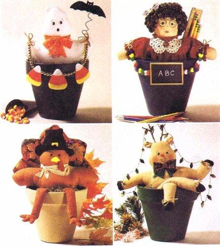 Flower Pot Pals Ghost Teacher Turkey Reindeer McCalls 2334 Sewing Pattern ()