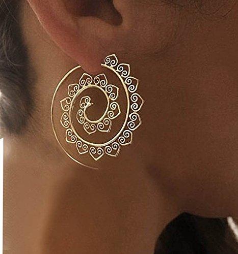 (Womens Ethnic Gypsy Swirl Hoop Earrings Bohemia Jewelry)