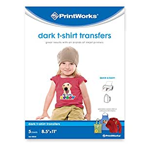 """Printworks Dark T-Shirt Transfers for Inkjet Printers, For Use on Dark and Light/White Fabrics, Photo Quality Prints, 5 Sheets, 8 ½"""" x 11"""" (00529)"""