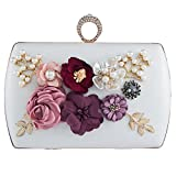 Bagood Women's 3D Flower Handbag Beaded Pearl Clutches Ring Purses Shoulder Bag for Wedding Bridal Prom Party White