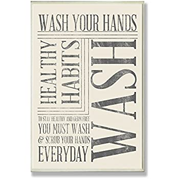Stupell Home Décor Wash Your Hands Typography Bathroom Wall Plaque, 10 x 0.5 x 15, Proudly Made in USA