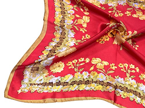 Red Yellow Flowers Printed Small Square Fine Silk Scarf by Bees Knees Fashion (Image #4)