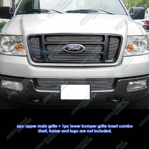 APS Fits 2004-2005 Ford F-150 Bar Style Billet Grille Combo #F67995A ()