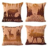 Cheap WOMHOPE 4 Pcs – 17″ Vintage Style Forest Animal Cotton Linen Square Throw Pillow Case Decorative Cushion Cover Pillowcase Cushion Case for Sofa,Bed,Chair (Forest Animal 4 Pcs)
