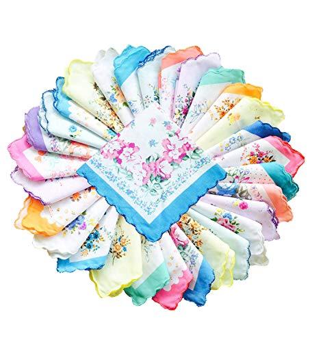 La closure Womens Vintage Floral Handkerchiefs Fabric Cotton Hankies