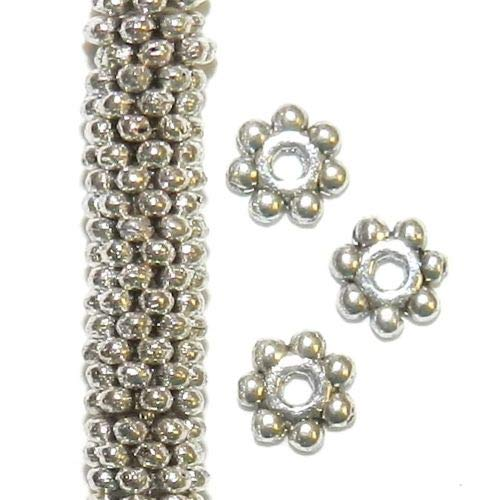 Pendant Jewelry Making Antiqued Silver 4mm Round Dotted Daisy Flower Rondelle Metal Bead 250pc