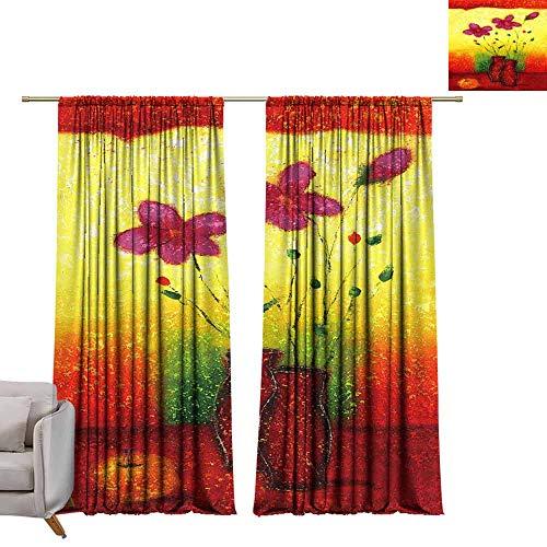 Blackout Curtains Art, Flower, vase, Beautiful Flower (18) W84 x L108 Blackout Drapes for Bedroom
