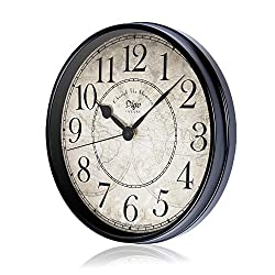 JUSTUP Wall Clock, 12 inch Metal Silent Non-Ticking Retro Clock Black Vintage European Style Battery Operated with HD Glass Easy to Read for Indoor Decor