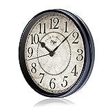 Attoe Large Silent Black Wall Clock Battery Operated European Style Retro Vintage Clock