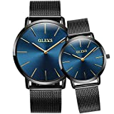 Women Men Thin Watches Blue Dial Watch,Japanese Quartz Movement Simple Mesh Watch Couple Wrist Watches Business Casual Waterproof Watches for Men Women, His and Her Fashion Minimalist Wrist Watches