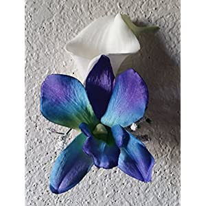 Peacock Purple Blue Turquoise Orchid Calla Lily Corsage or Boutonniere 6