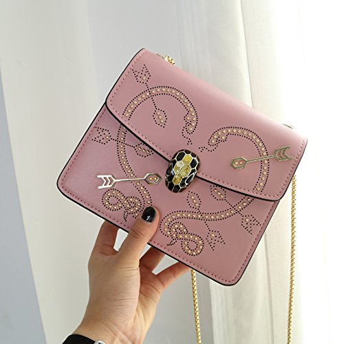 Shoulder Bag High Package Head Chain Quality Small New Square Shaped Sword Cjshop Bag Cupid's Snake Rivet Pink Skin Women's OC6pwqH