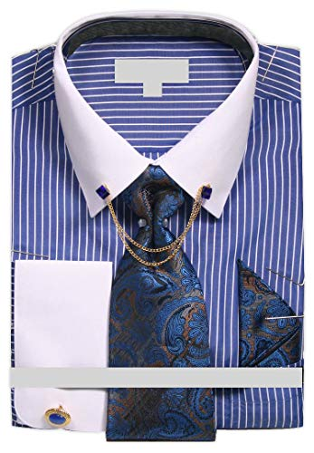 (Men's Chalk Stripe Shirt with Tie Handkerchief Cufflinks and Collar Chain - Royal 16.5 3435 )