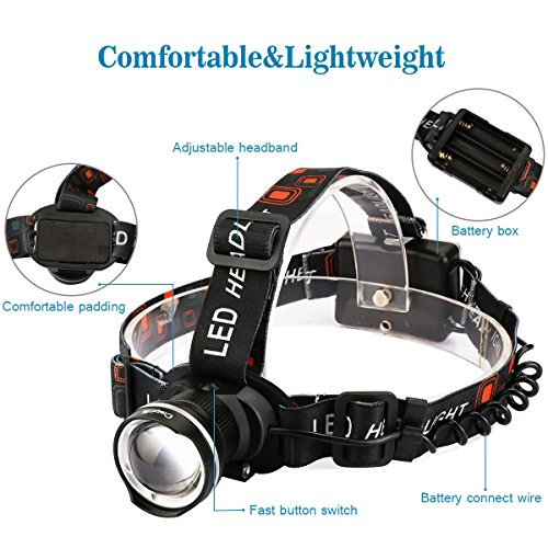 Best-LED-HeadlampCrazyFire-1600-Lumens-XML-T6-CREE-Hunting-LED-HeadlampZoomable-3-Modes-Runners-Headlamp-for-Outdoor-ReadingHikingCampingRunningJoggingClimbingFishingHuntingBlack