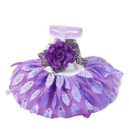 (Jim-Hugh Cat Dog Princess Shiny Tree Leaves Dress Pet Spring and Summer Clothes Birthday Wedding Breathable)