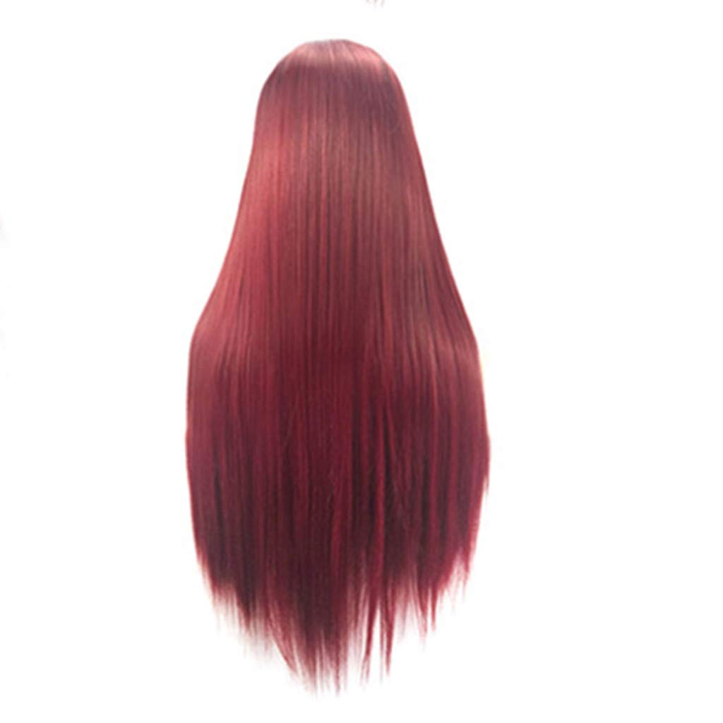 Meidexian888Long Wigs,Women's Fashion Front lace Wig Red Synthetic Hair Long Wigs Wave straight Wig