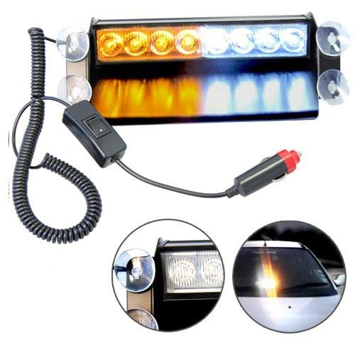 HQRP 8 LED Emergency Amber/White Strobe Visor Dashboard Lights Tow/Plow Escort Safety for Truck Car Auto plus HQRP Coaster ()