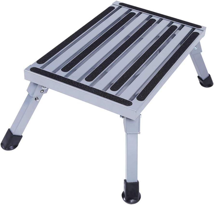 Yosooo Taburete plegable portátil, superficie de aluminio antideslizante, plataforma de escalera de seguridad, taburete para caravana, accesorios de camping, capacidad de 200 kg: Amazon.es: Juguetes y juegos