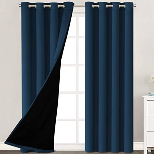 100 Blackout 2 Panels Solid Navy Curtains Extra Long Patio Curtain Panels Faux Silk Lined Curtain Drapes Thermal Insulated Window Treatment