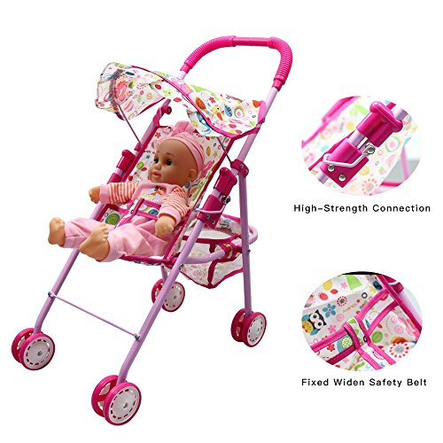 Annie's Collection Baby Doll Stroller with Doll, Foldable with Basket and Adjustable Hood for Girls Aged 1-2 Years Old by Annie's Collection (Image #3)