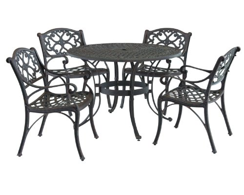 Home Styles 5555-328 Biscayne 5-Piece Outdoor Dining Set, Rust Bronze Finish, 48-Inch