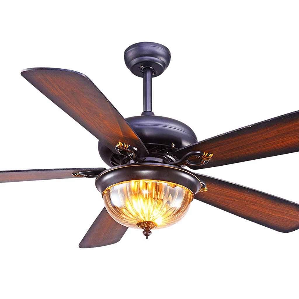 """ライトおよびリモートコントロール、調節可能な3つの速度のシャンデリアファンの天井、ファンの照明設備の木製ファンの刃およびガラスランプの笠が付いているレトロの天井に付いている扇風機 (サイズ さいず : 52 ) B07RPVY7PY  52"""""""