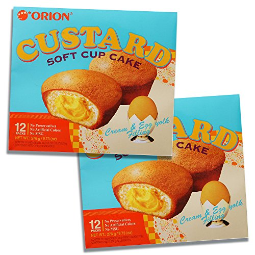 (Orion Custard Filled Fruit Cake Soft Cupcake Dessert (24 Pieces))