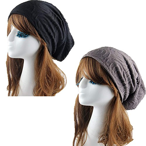 Women's Lightweight Turban Slouchy Beanie Hat Cap Mixed Color A 2PACKS One Size (30.526.5CM) ()