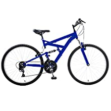 Cycle Force Dual Suspension Mountain Bike, 26 inch wheels, 18 inch frame, Men's Bike, Blue