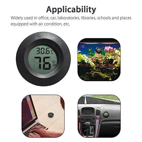 EEEkit Hygrometer Thermometer Digital LCD Monitor Indoor Outdoor Humidity Meter Gauge for Humidifiers Dehumidifiers Greenhouse Basement Babyroom, Black Round (5-pack) by EEEKit (Image #7)