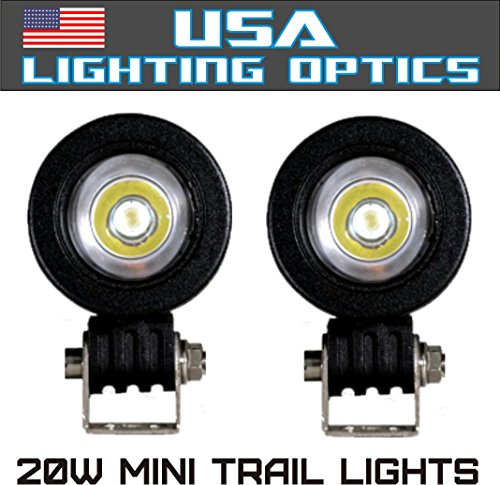 #1 Mini Trail Lights by USA Lighting Optics 20W CREE LED Spot Motorcycle Offroad Dual Sport Enduro Fog Trail Head Light for Xr DRZ EXC Dirt Bike Dual Sport KTM