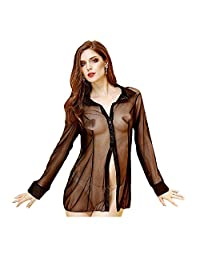 LANGUGU Women's Sexy Long Sleeve Mesh Blouse Sheer See Through Shirt Sleepshirt Sleepwear Lingerie