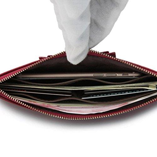 Multi-Card-Leder-Clutch-Tasche Frauen lange Brieftasche Mode-Bow Schnalle Brieftasche Frau Clutch 6 Farben 4