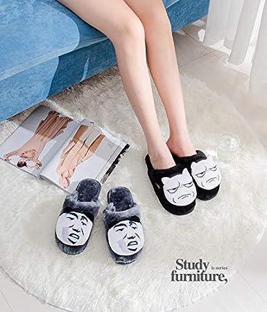 Colias Wing Funny Emoji Design Warm Winter Indoor Outdoor Slippers for Men