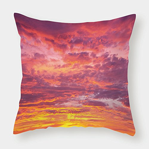 iPrint Microfiber Throw Pillow Cushion Cover,Sky,Sunset Photography with Clouded Weather Tropical Scenic Hawaii Tranquility Decorative,Coral Dried Rose Orange,Decorative Square Accent Pillow Case by iPrint