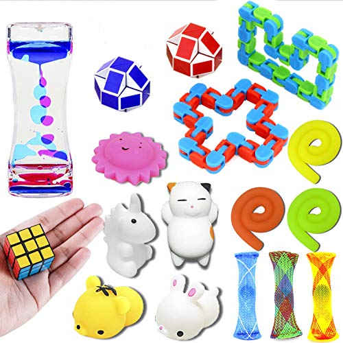 nobasco Sensory Toys Set, 17 Pack Fidget Toys Bundle Stress Relief Hand Toys Adults Kids, Stretchy String/Liquid Motion/Cube/Twist Puzzle/Mesh Marble/Mochi Squishy - Perfect ADHD ADD Anxiety Autism by nobasco