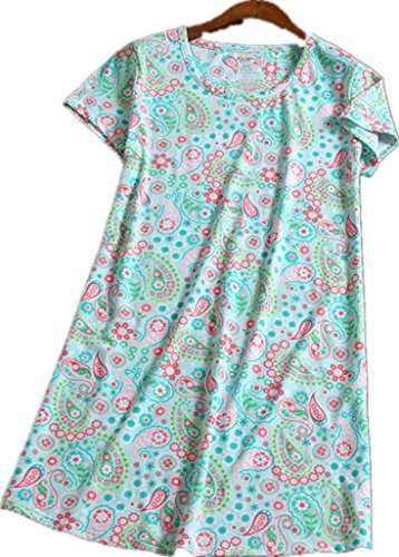 Amoy-Baby Women's Cotton Green flower Floral Nightgown Casual Nights 2XL XTSY001